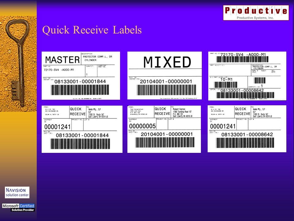 Quick Receive Labels