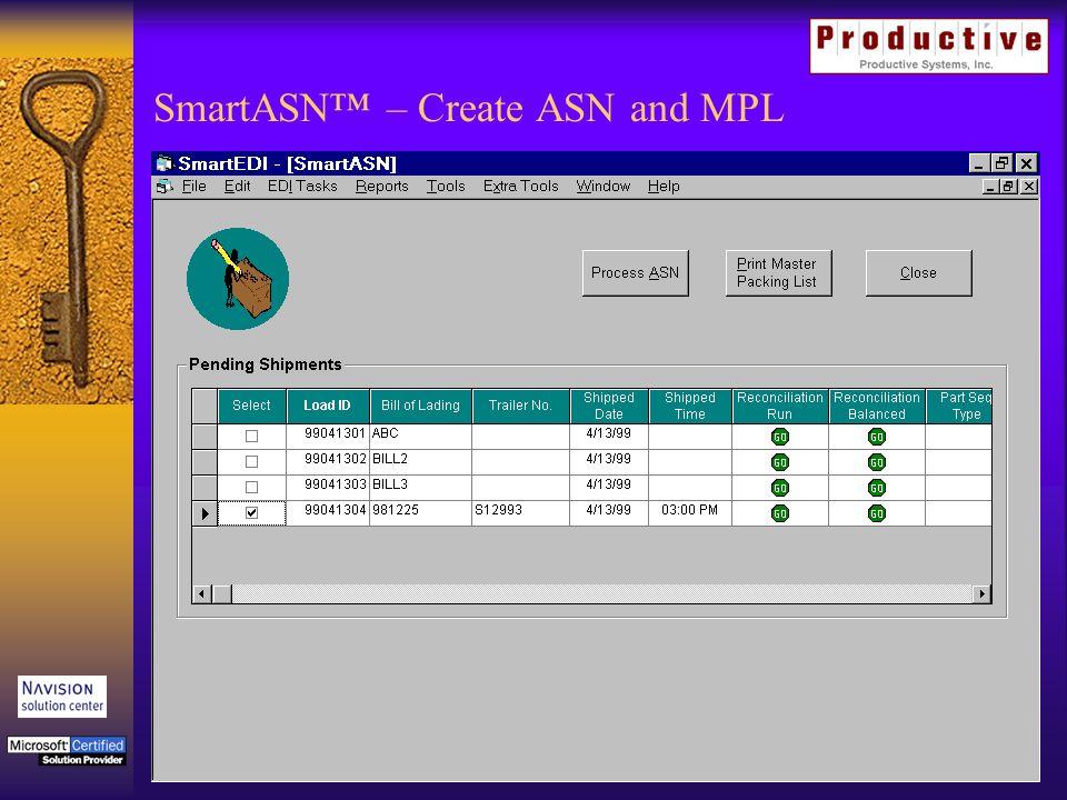 SmartASN – Create ASN and MPL