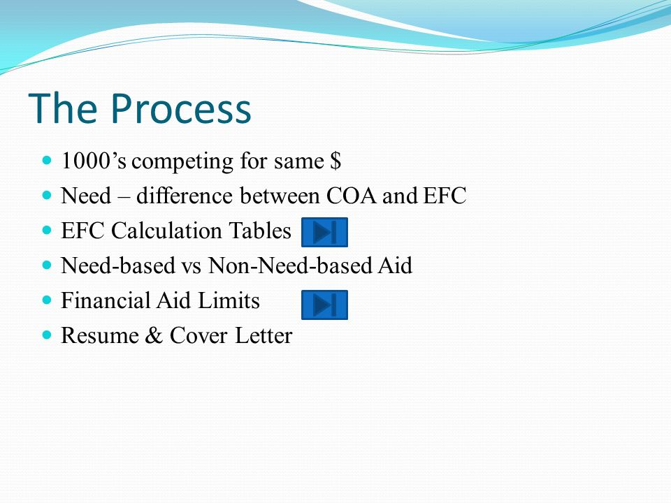 The Process 1000s competing for same $ Need – difference between COA and EFC EFC Calculation Tables Need-based vs Non-Need-based Aid Financial Aid Lim