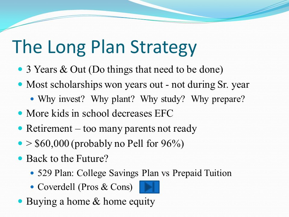The Long Plan Strategy 3 Years & Out (Do things that need to be done) Most scholarships won years out - not during Sr. year Why invest? Why plant? Why