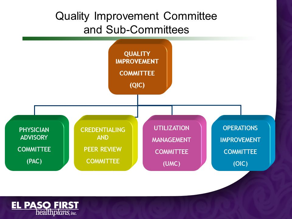 Quality Improvement Committee and Sub-Committees QUALITY IMPROVEMENT COMMITTEE (QIC) PHYSICIAN ADVISORY COMMITTEE (PAC) CREDENTIALING AND PEER REVIEW