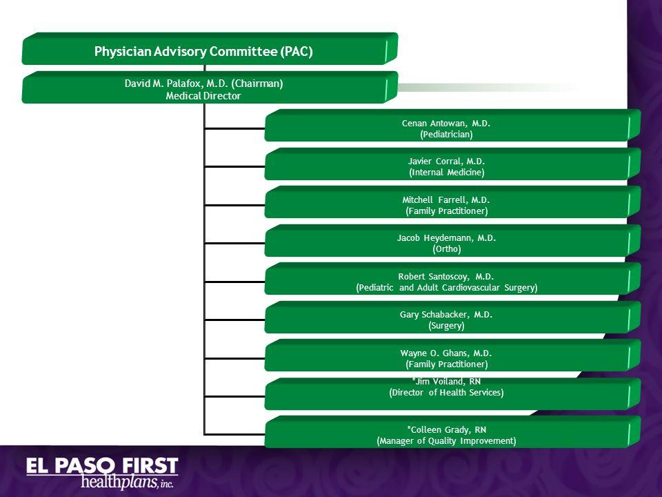 Physician Advisory Committee (PAC) David M. Palafox, M.D. (Chairman) Medical Director Cenan Antowan, M.D. (Pediatrician) Javier Corral, M.D. (Internal