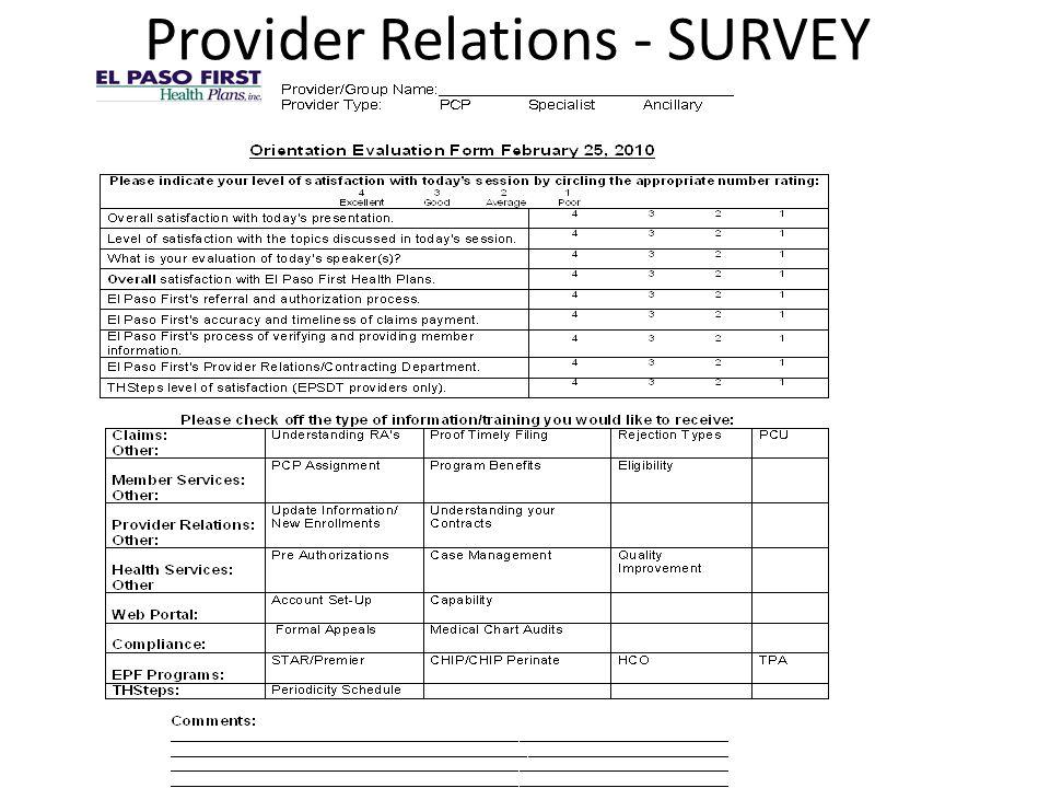Provider Relations - SURVEY