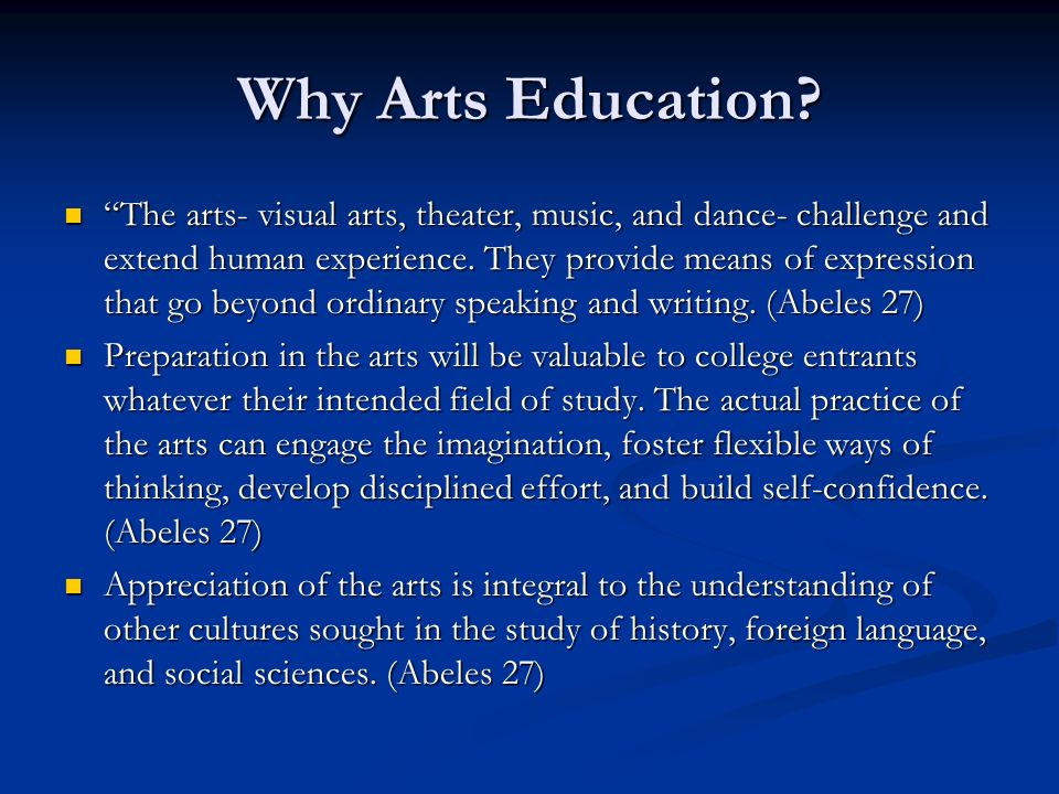 Why Arts Education.