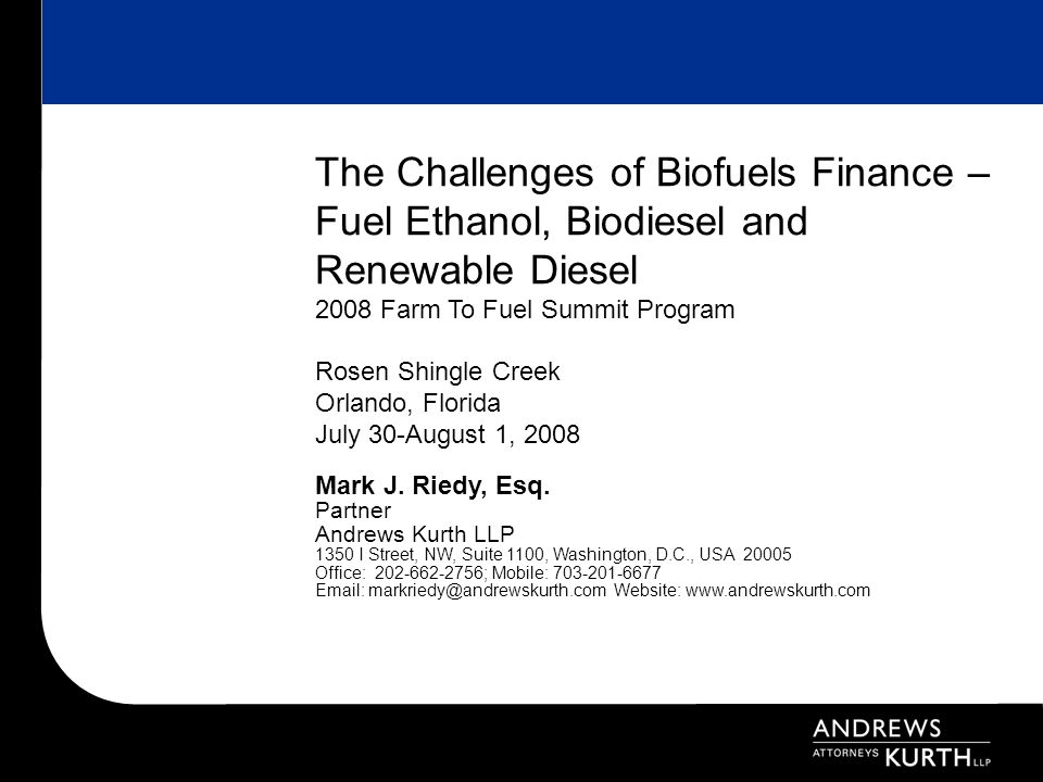 22 VI.Project Financing Models A.Financing Biofuels Projects Generally 1.Investors ideally seek a 25%-30% ROI.