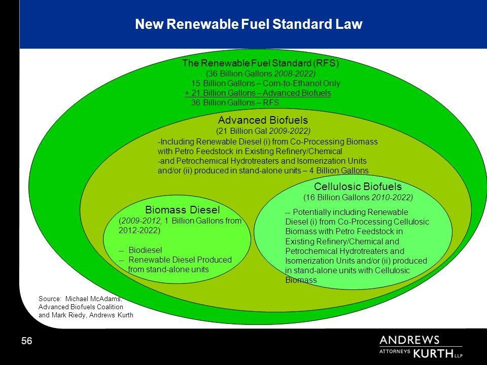 56 The Renewable Fuel Standard (RFS) (36 Billion Gallons 2008-2022) Advanced Biofuels (21 Billion Gal 2009-2022) 15 Billion Gallons – Corn-to-Ethanol