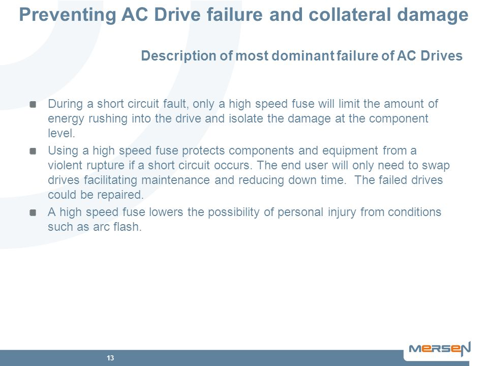 13 Preventing AC Drive failure and collateral damage Description of most dominant failure of AC Drives During a short circuit fault, only a high speed