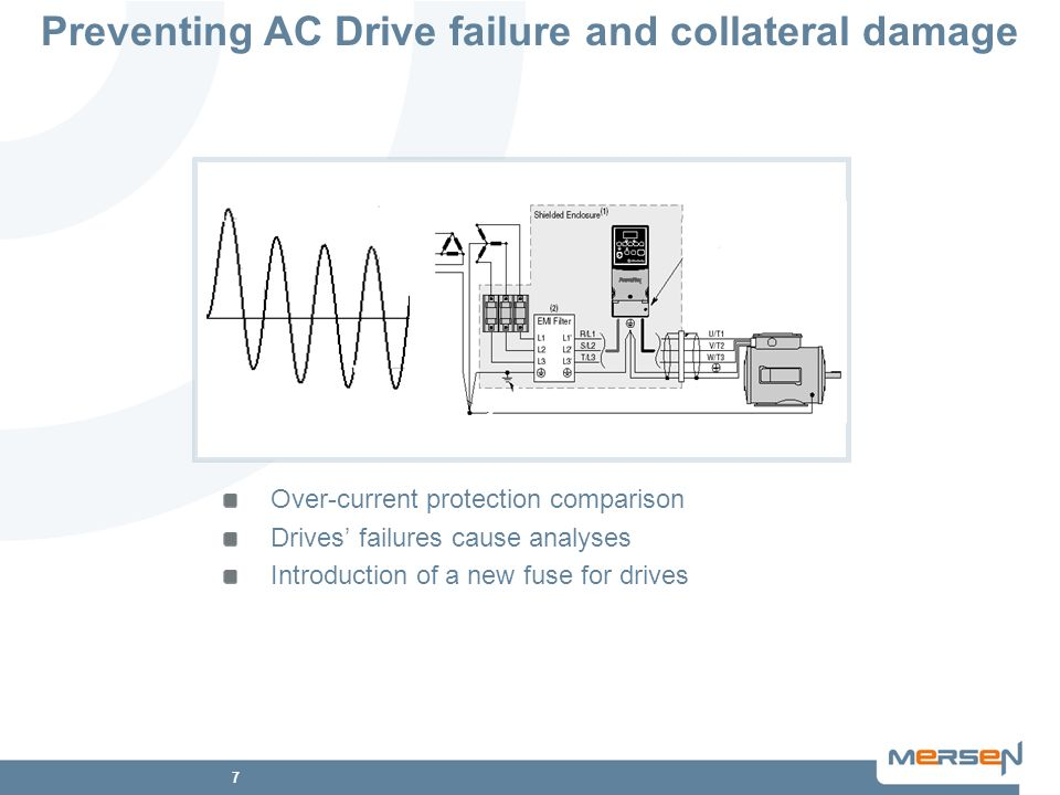 7 Preventing AC Drive failure and collateral damage Over-current protection comparison Drives failures cause analyses Introduction of a new fuse for d