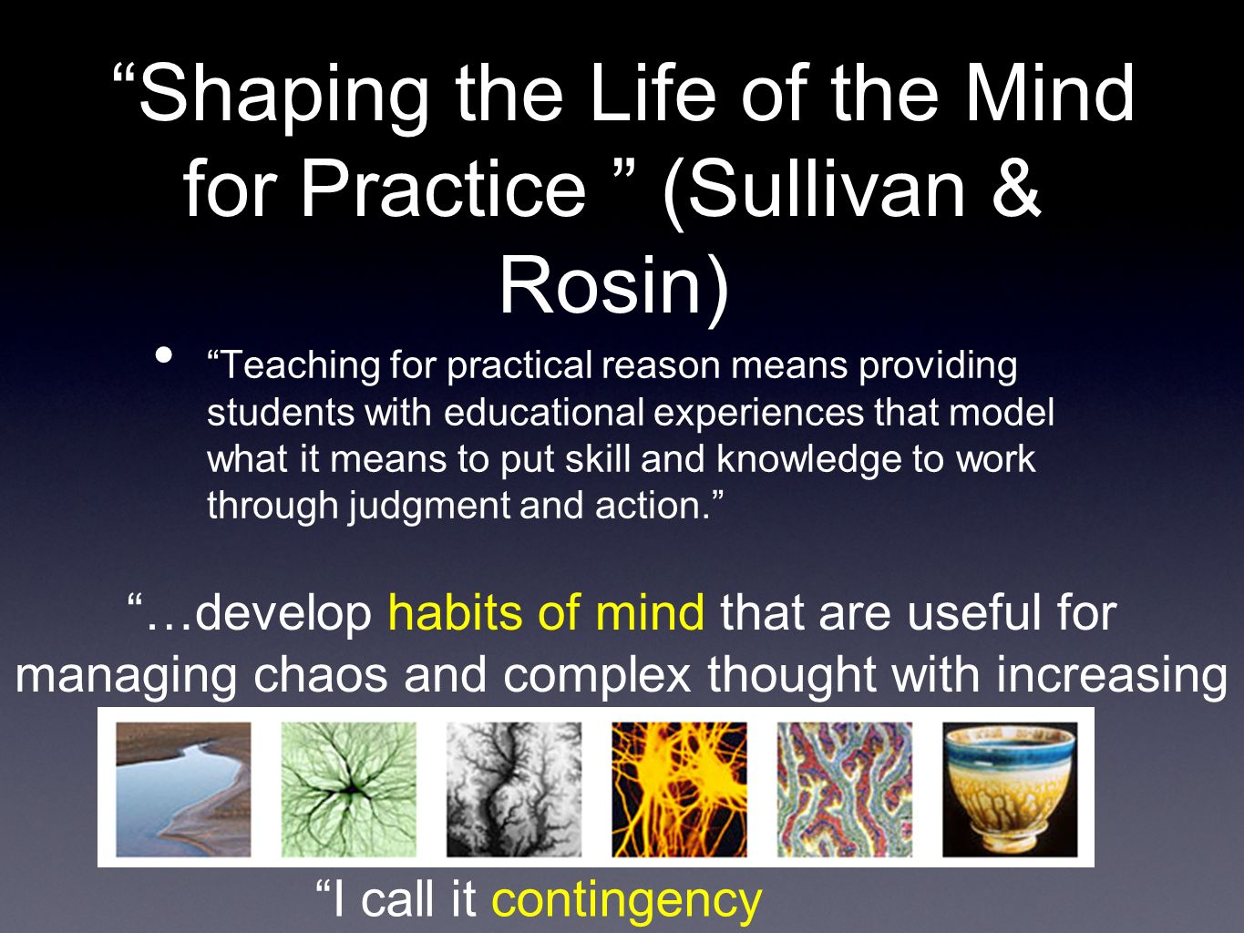Shaping the Life of the Mind for Practice (Sullivan & Rosin) Teaching for practical reason means providing students with educational experiences that model what it means to put skill and knowledge to work through judgment and action.