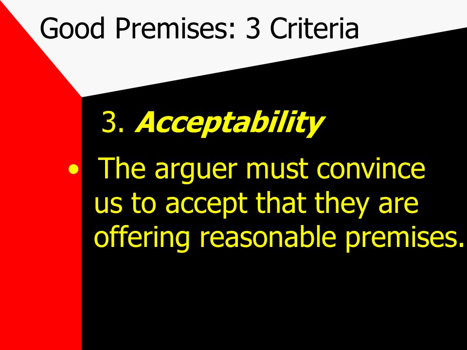 Good Premises: 3 Criteria For example, the failure of one student to be in code is clearly relevant to the question whether students are open to school uniforms - but doesnt prove anything.
