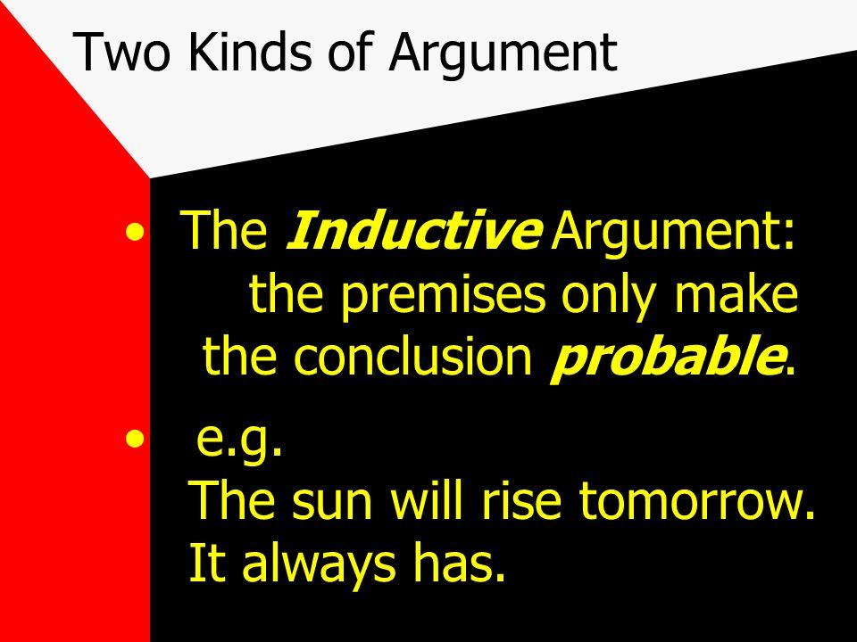 Two Kinds of Argument The Deductive argument: true premises guarantee a true conclusion.