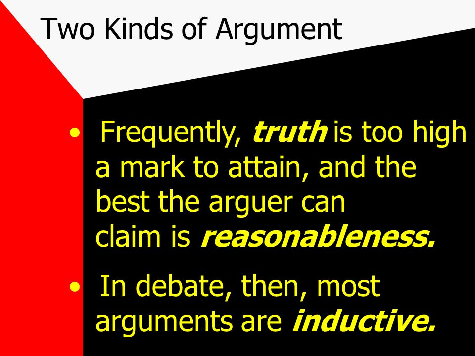 Two Kinds of Argument The Inductive Argument: the premises only make the conclusion probable. e.g. The sun will rise tomorrow. It always has.