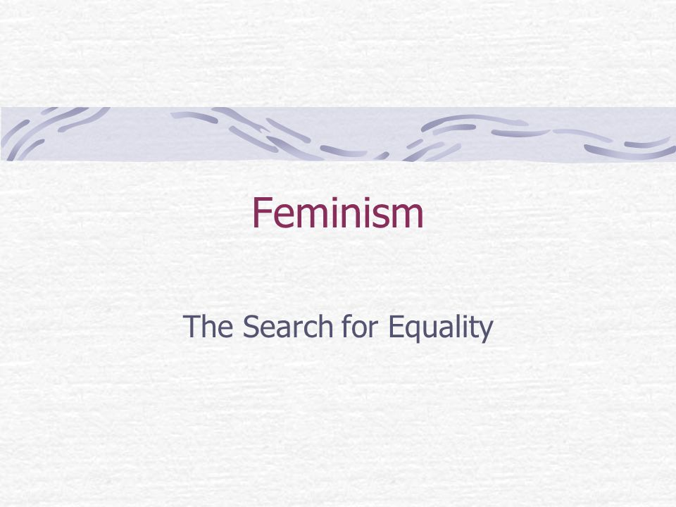 Feminism The Search for Equality