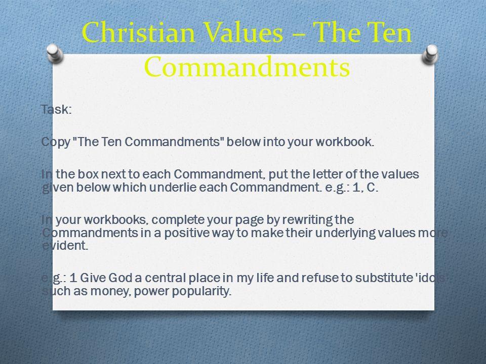 Christian Values – The Ten Commandments Task: Copy