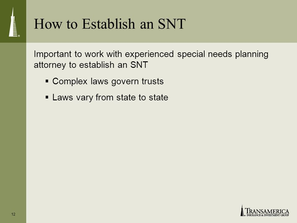 How to Establish an SNT Important to work with experienced special needs planning attorney to establish an SNT Complex laws govern trusts Laws vary from state to state 12