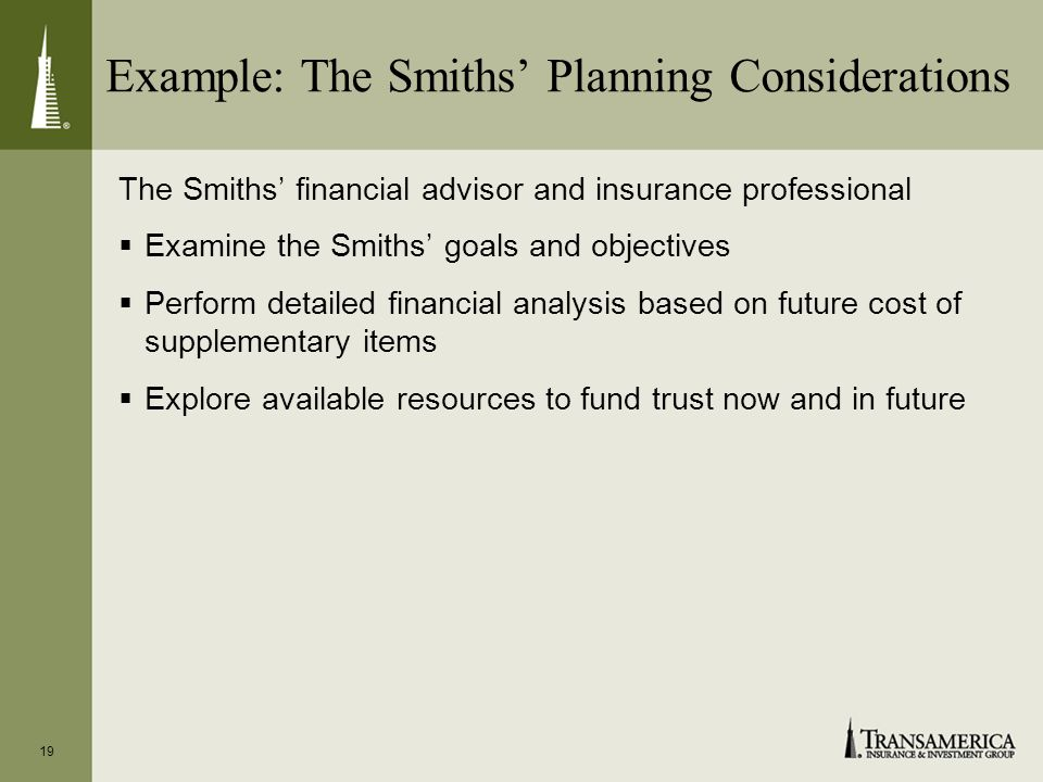 Example: The Smiths Planning Considerations The Smiths financial advisor and insurance professional Examine the Smiths goals and objectives Perform detailed financial analysis based on future cost of supplementary items Explore available resources to fund trust now and in future 19