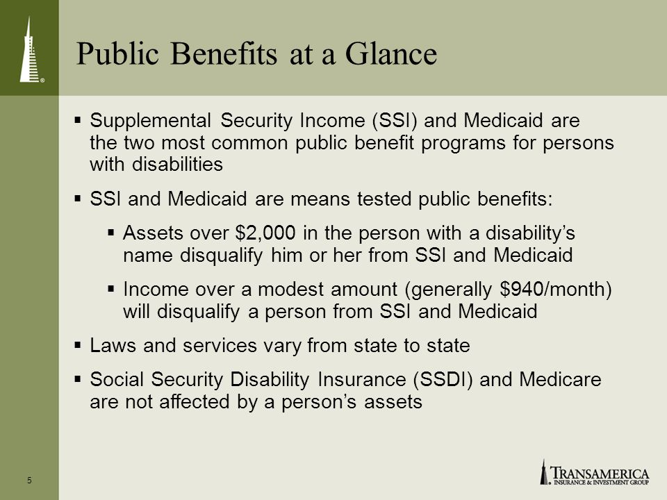 Public Benefits at a Glance 5 Supplemental Security Income (SSI) and Medicaid are the two most common public benefit programs for persons with disabilities SSI and Medicaid are means tested public benefits: Assets over $2,000 in the person with a disabilitys name disqualify him or her from SSI and Medicaid Income over a modest amount (generally $940/month) will disqualify a person from SSI and Medicaid Laws and services vary from state to state Social Security Disability Insurance (SSDI) and Medicare are not affected by a persons assets