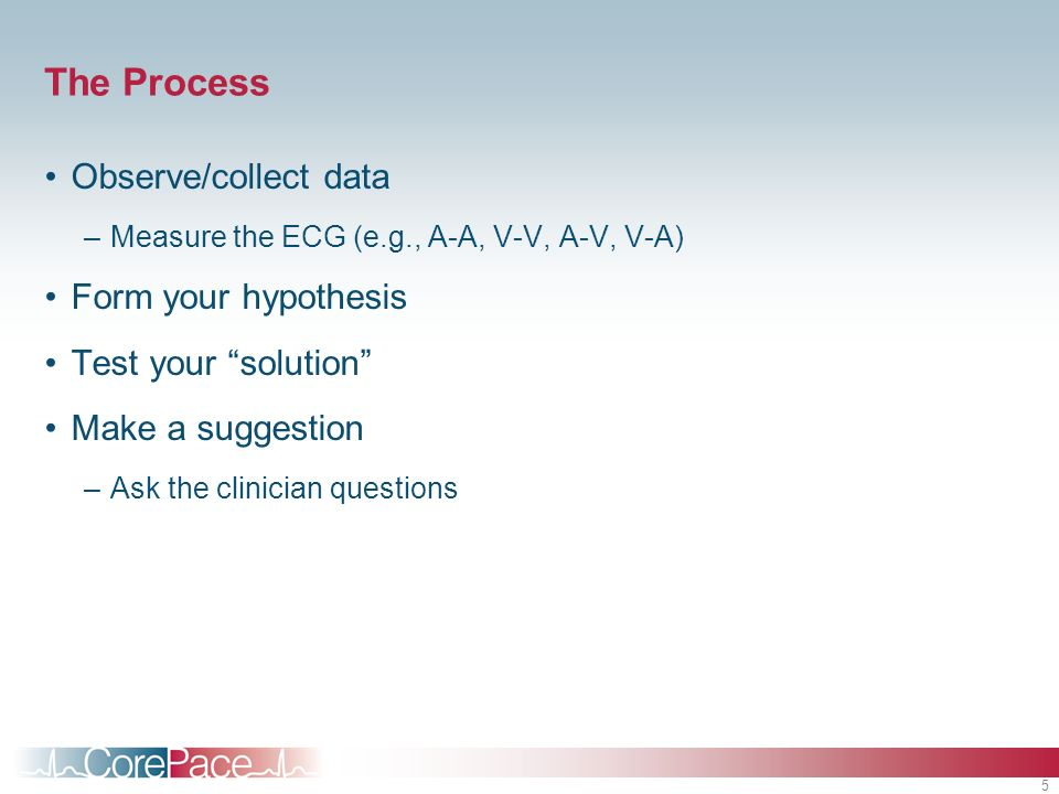 5 The Process Observe/collect data –Measure the ECG (e.g., A-A, V-V, A-V, V-A) Form your hypothesis Test your solution Make a suggestion –Ask the clin