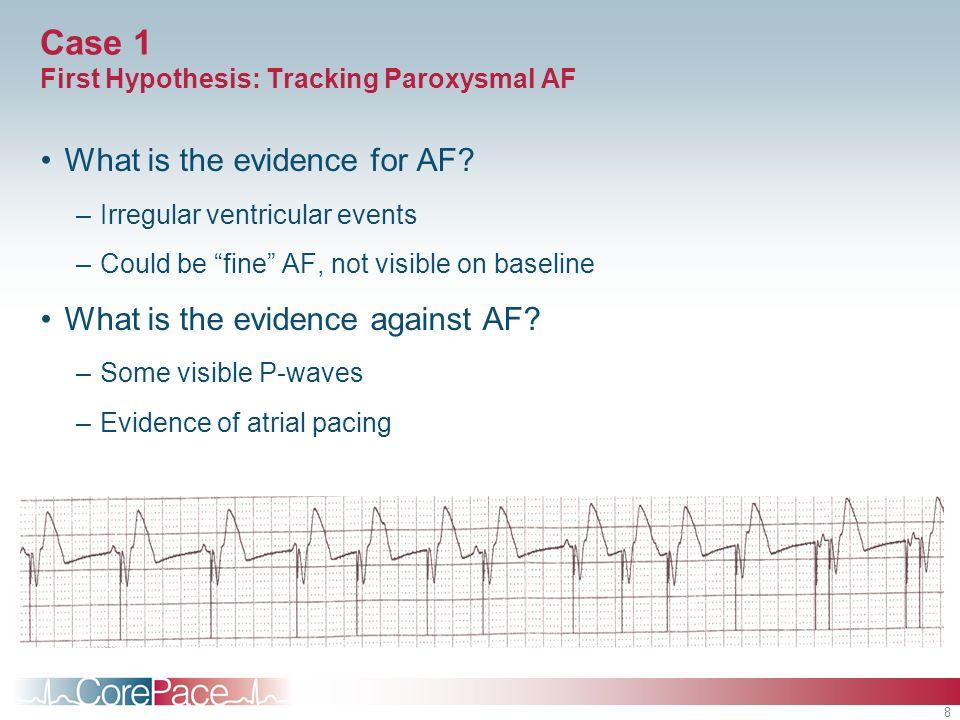 8 Case 1 First Hypothesis: Tracking Paroxysmal AF What is the evidence for AF? –Irregular ventricular events –Could be fine AF, not visible on baselin