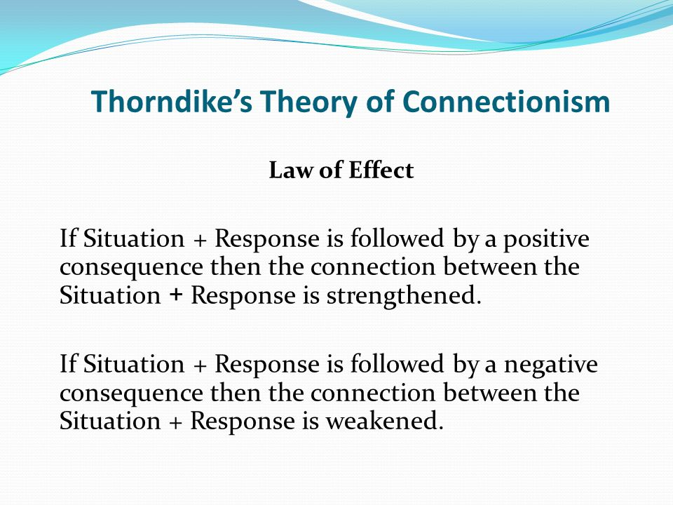 Thorndikes Theory of Connectionism Law of Effect If Situation + Response is followed by a positive consequence then the connection between the Situati