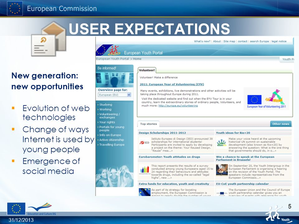 31/12/2013 5 USER EXPECTATIONS New generation: new opportunities Evolution of web technologies Change of ways Internet is used by young people Emergence of social media USER PERSPECTIVE