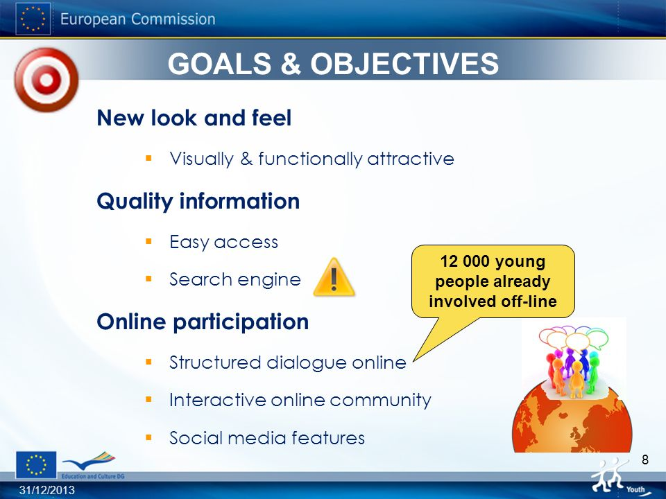 31/12/ GOALS & OBJECTIVES New look and feel Visually & functionally attractive Quality information Easy access Search engine Online participation Structured dialogue online Interactive online community Social media features young people already involved off-line