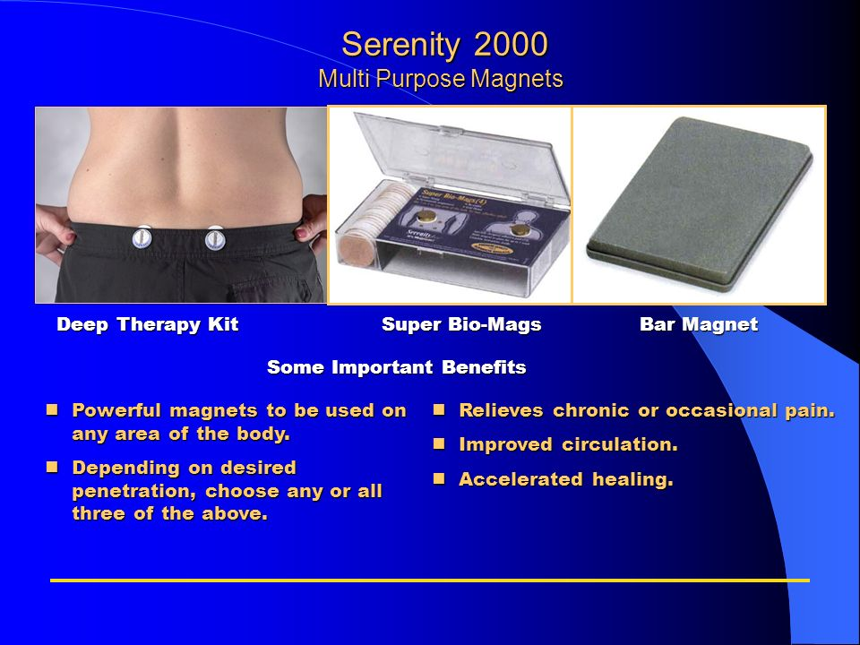 Serenity 2000 Multi Purpose Magnets Serenity 2000 Multi Purpose Magnets nPowerful magnets to be used on any area of the body. nDepending on desired pe