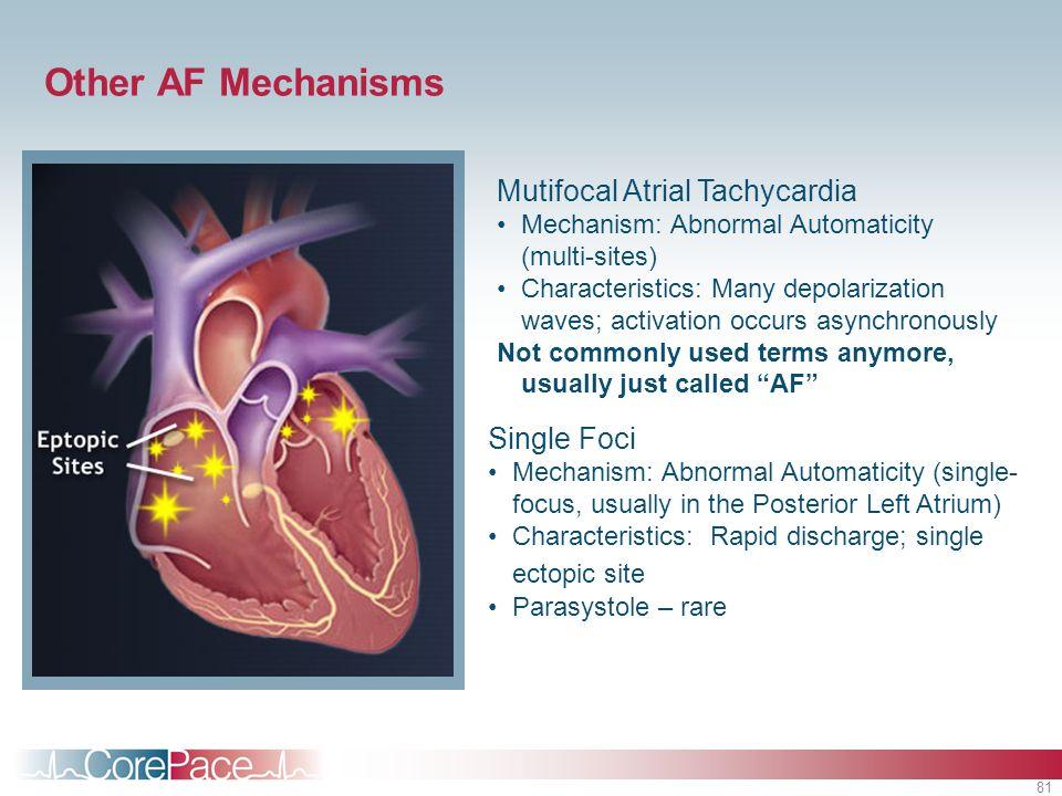 81 Mutifocal Atrial Tachycardia Mechanism: Abnormal Automaticity (multi-sites) Characteristics: Many depolarization waves; activation occurs asynchron