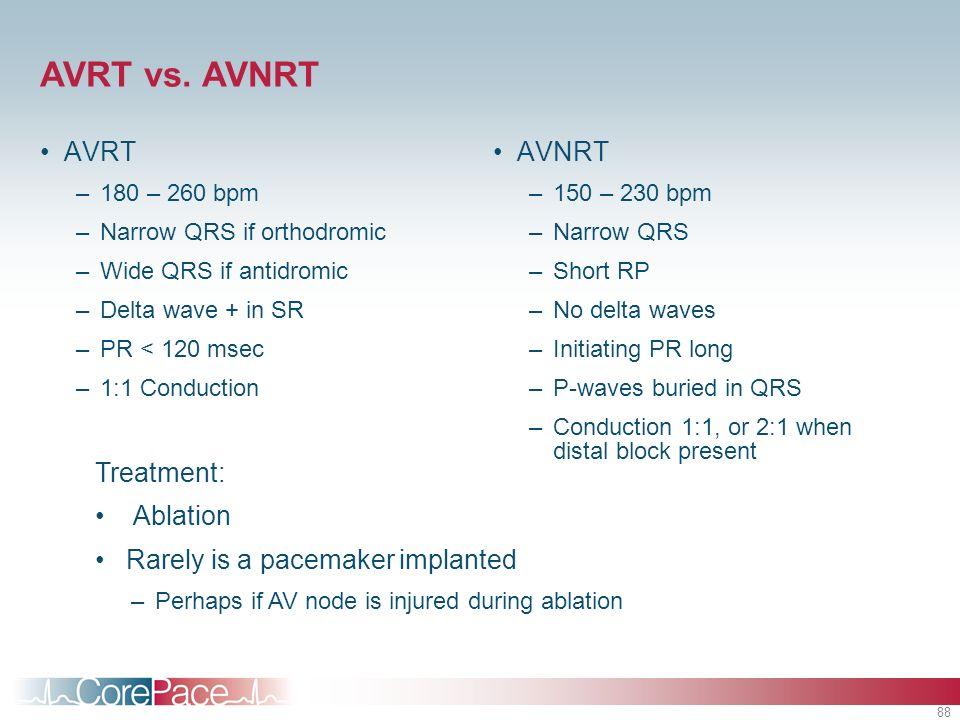 88 AVRT vs. AVNRT AVRT –180 – 260 bpm –Narrow QRS if orthodromic –Wide QRS if antidromic –Delta wave + in SR –PR < 120 msec –1:1 Conduction AVNRT –150