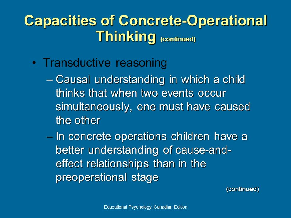 Educational Psychology, Canadian Edition Capacities of Concrete-Operational Thinking (continued) Transductive reasoning –Causal understanding in which