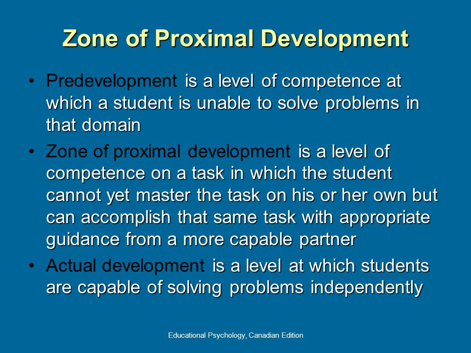 Educational Psychology, Canadian Edition Zone of Proximal Development is a level of competence at which a student is unable to solve problems in that