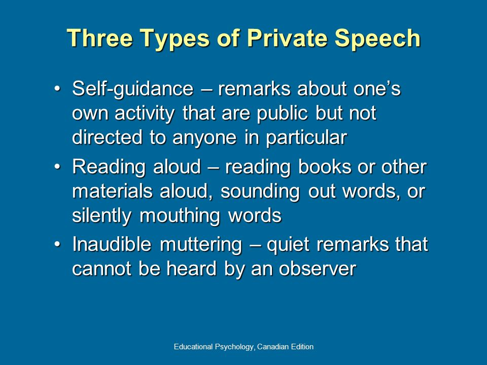 Educational Psychology, Canadian Edition Three Types of Private Speech Self-guidance – remarks about ones own activity that are public but not directe