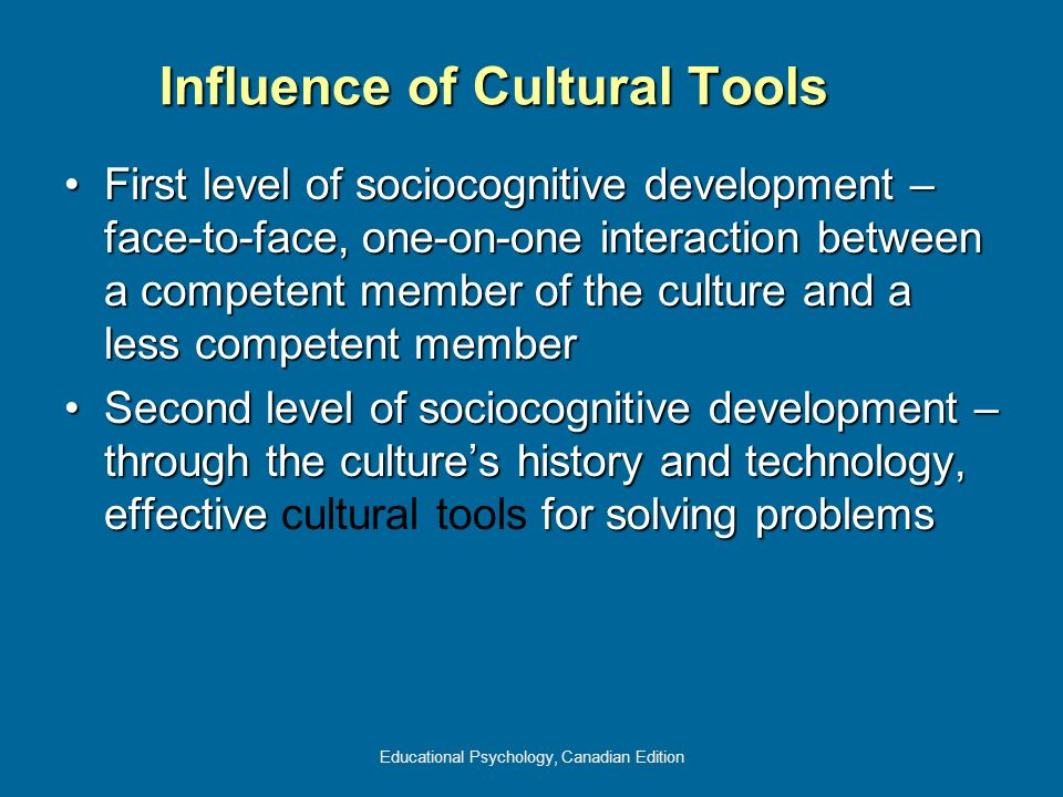 Educational Psychology, Canadian Edition Influence of Cultural Tools First level of sociocognitive development – face-to-face, one-on-one interaction