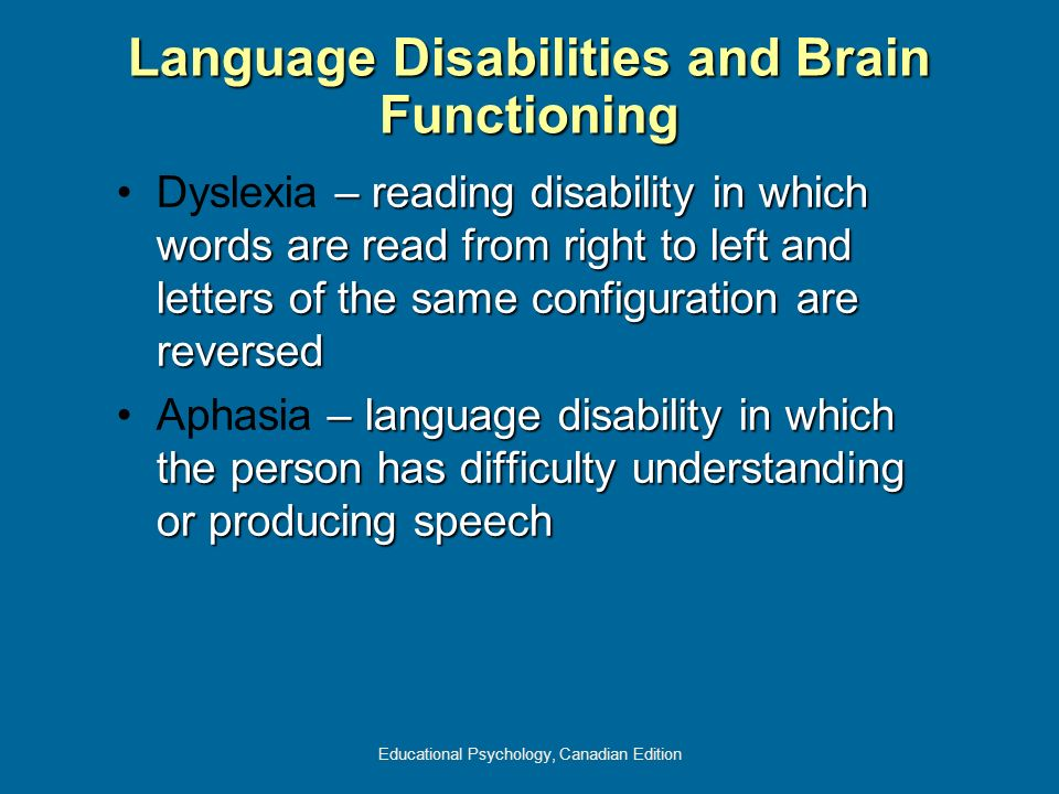 Educational Psychology, Canadian Edition Language Disabilities and Brain Functioning – reading disability in which words are read from right to left a