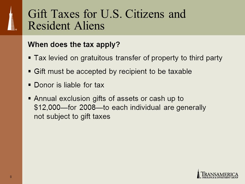 9 Lifetime Exemption Amounts and Gift Tax Rates Year Applicable Gift Exemption Amount Maximum Gift Tax Rate 2008 through 2009$1 million45% 2010$1 million35% 2011 or later$1 million55%