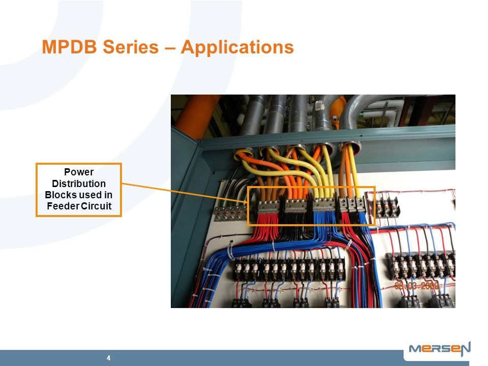 4 MPDB Series – Applications Power Distribution Blocks used in Feeder Circuit