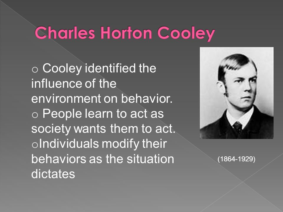 o Cooley identified the influence of the environment on behavior.