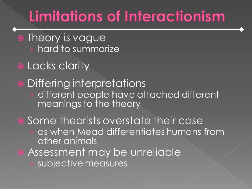 Theory is vague hard to summarize Lacks clarity Differing interpretations different people have attached different meanings to the theory Some theorists overstate their case as when Mead differentiates humans from other animals Assessment may be unreliable subjective measures