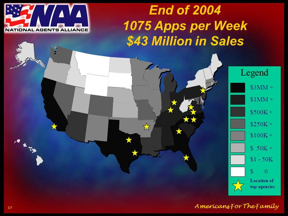 Americans For The Family 16 End of 2003 800 Apps per Week $22 Million in Sales $3MM + $1MM + $500K + $250K + $100K + $ 50K + $1 - 50K $ 0 Legend Locat