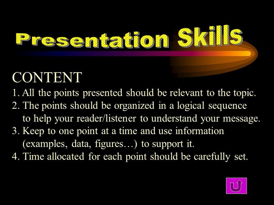 CONTENT 1. All the points presented should be relevant to the topic. 2. The points should be organized in a logical sequence to help your reader/liste