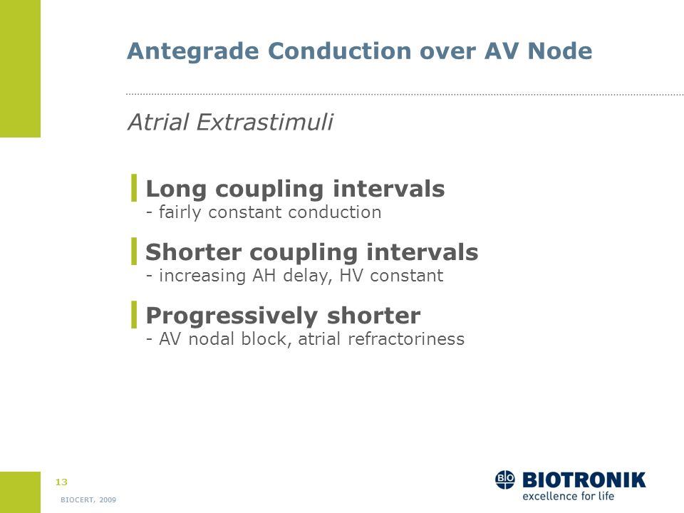 12 BIOCERT, 2009 Atrial Extrastimulus Testing Aim - Investigation of the dynamic properties of the conduction over the AV node and the His-Purkinje sy