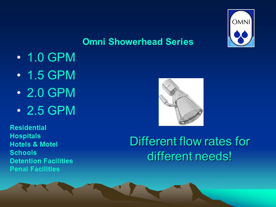 1.0 GPM 1.5 GPM 2.0 GPM 2.5 GPM Omni Showerhead Series Different flow rates for different needs.