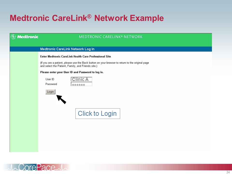 34 Clinic A ****** Click to Login Medtronic CareLink ® Network Example