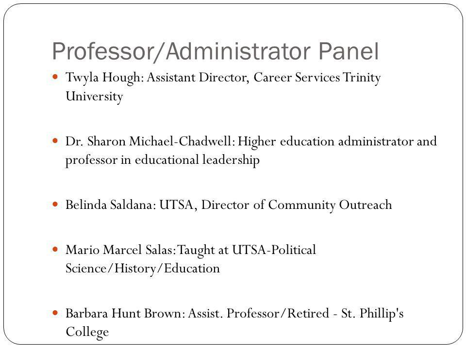 Professor/Administrator Panel Twyla Hough: Assistant Director, Career Services Trinity University Dr.