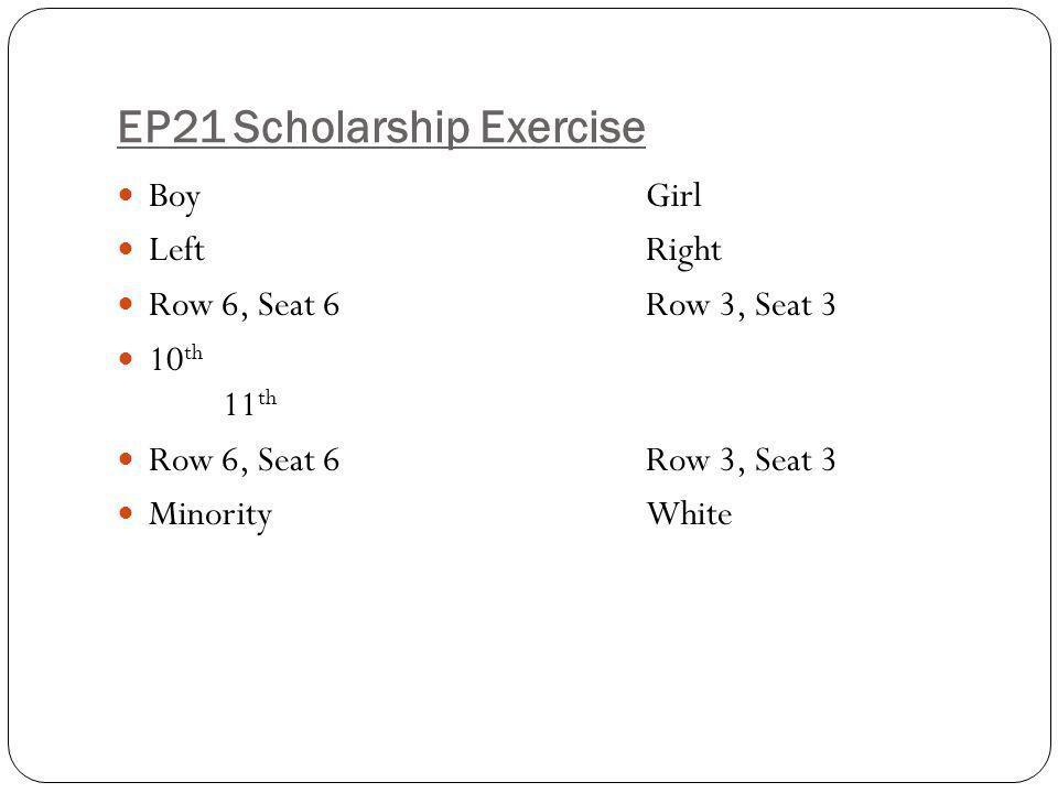 EP21 Scholarship Exercise BoyGirl LeftRight Row 6, Seat 6Row 3, Seat 3 10 th 11 th Row 6, Seat 6Row 3, Seat 3 MinorityWhite