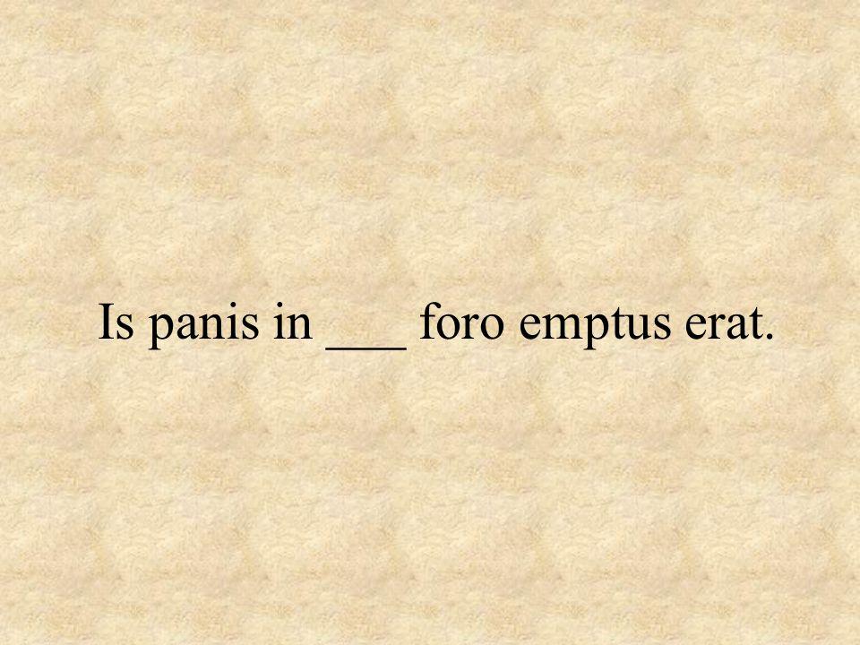 Is panis in ___ foro emptus erat.