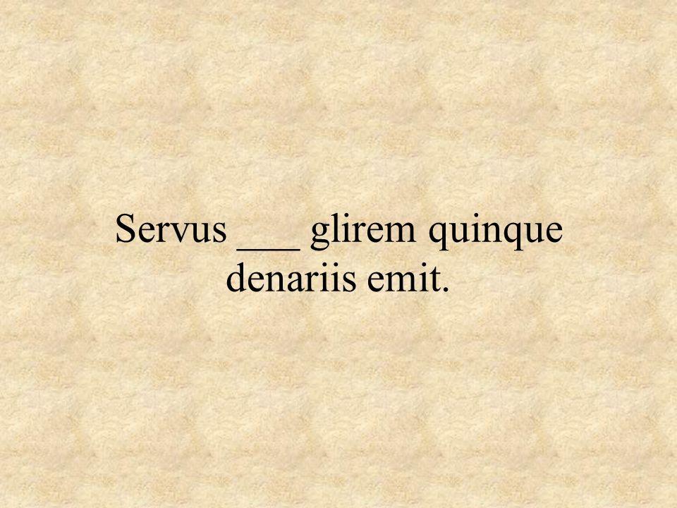 Servus ___ glirem quinque denariis emit.