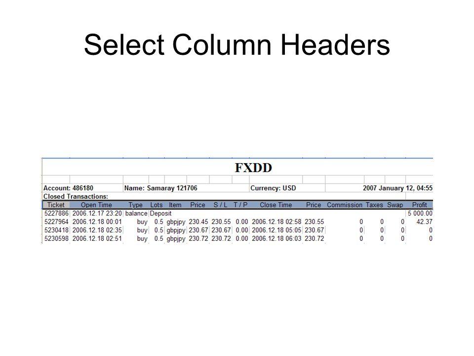 Select Column Headers
