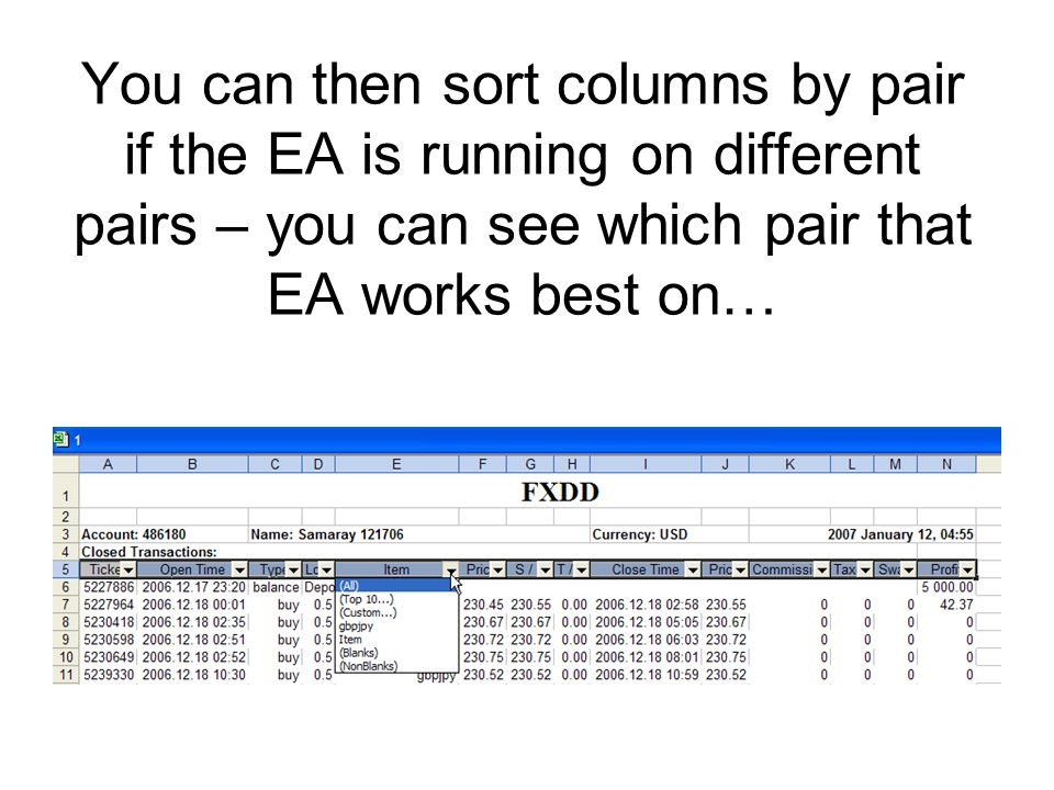You can then sort columns by pair if the EA is running on different pairs – you can see which pair that EA works best on…
