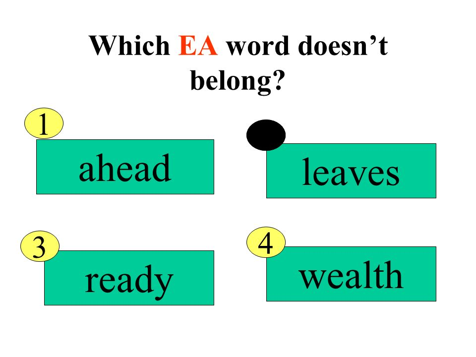 Which EA word doesnt belong real scream ahead eager